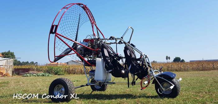 HSCOM Condor XL : chariot paramoteur biplace, distribué par Vosges Plaine Paramoteur